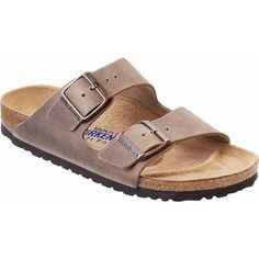Birkenstock Unisex's Arizona Soft Footbed Tobacco Oiled Leather Slide... ($135) ❤ liked on Polyvore featuring shoes, sandals, brown, leather slide sandals, arch support sandals, brown sandals, birkenstock sandals and adjustable strap sandals