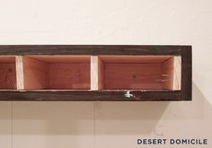 Desert Domicile: DIY Chunky Wooden Floating Shelves: Round 2  These ones have sides... could use for floating bench?!