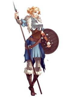 Kitta WulfsDottir by MizaelTengu female fighter ranger shield maiden spear polearm Viking armor clothes clothing fashion player character npc | Create your own roleplaying game material w/ RPG Bard: www.rpgbard.com | Writing inspiration for Dungeons and Dragons DND D&D Pathfinder PFRPG Warhammer 40k Star Wars Shadowrun Call of Cthulhu Lord of the Rings LoTR + d20 fantasy science fiction scifi horror design | Not Trusty Sword art: click artwork for source