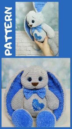 Crochet bunny pattern, easter bunny pattern, personalized bunny crochet for baby. Crochet Baby Toys, Crochet Baby Clothes, Baby Blanket Crochet, Crochet Animals, Crochet Bunny Pattern, Crochet Patterns Amigurumi, Craft Stick Crafts, Big Bunny, Crochet Projects