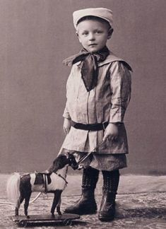 :::::::::: Antique Photograph :::::::::: Sailor boy with pull toy horse. There's nothing really to say about this, except this little fellows parents must have been very wealthy in Vintage Children Photos, Children Images, Vintage Pictures, Vintage Images, Vintage Kids, Victorian Photos, Antique Photos, Old Photos, Old Pictures