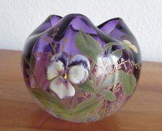 Vase ancien verre émaillé décor de pensées Legras St Denis Art nouveau 1900