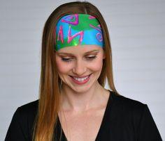 Yoga headband, Fitness headband, Womens wide boho headband, Running headband, Workout headband, Ladies stretch fabric headband