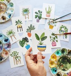 This is a one-of-a-kind watercolor piece of a teeny tiny house plant from the 2020 house plant calendar. - - - - - - - - - - - - - - - - - - - - - - - - - - ◦ Size: The watercolor is 3 Watercolor Plants, Easy Watercolor, Watercolor Cards, Watercolor Illustration, Watercolour Painting, Watercolors, Watercolor Sunset, Watercolor Journal, Watercolor Lettering