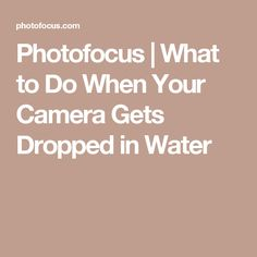Photofocus | What to Do When Your Camera Gets Dropped in Water