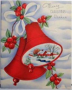 Bells & Holly-Vintage Christmas Card by lola Christmas Card Messages, Christmas Ecards, Christmas Card Template, Christmas Graphics, Christmas Greeting Cards, Christmas Greetings, Christmas Postcards, Christmas Wishes, Vintage Christmas Images