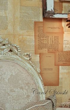 Book pages as wallpaper.  Old cookbook pages in a small pantry would be adorable!