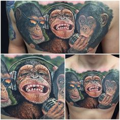 See the evil, hear the evil, sing the evil! Tattoo of three wise-ass monkeys by artist Randy Engelhard. | Intenze ink