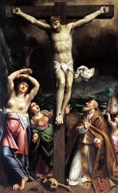 """Paining by Bernardino Gatti detto (Il Sojaro), """"Crocifissione e Santi"""" in the cathedral, Parma, Italy (Parma, Cattedrale)"""