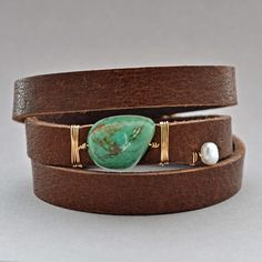 Turquoise Leather Wrap Cuff - Elizabeth Plumb Jewelry