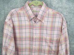 Peter Millar Pink Plaid Shirt L Lrg Blue Green Purple Button Collar 53 Chest #PeterMillar #ButtonFront