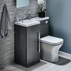 Harbour Icon Compact Furniture Suite inc Vanity Unit & Basin and Toilet Unit. Available in left or right hand, Modern polymarble basin for mono basin mixer, Striking avola grey finish, Soft closing door, 10 year guarantee. Small Downstairs Toilet, Small Bathroom With Shower, Small Toilet, Bathroom Design Small, Bathroom Interior Design, Bathroom Pink, Small Bathrooms, Compact Bathroom, Diy Shower