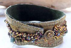 Fabric Collage  Cuff  Bracelet,  Bronze. $140.00, via Etsy.