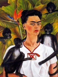 """""""Autorretrato con monos"""", öl von Frida Kahlo (1907-1954, Mexico)"""