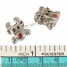Zinc Alloy Animal Large Hole Beads,Cow,Rhinestones Setting,Plated,Cadmium And Lead Free,Various Color For Choice,Approx 15*14*8mm,Hole:Approx 5.5mm,Sold By Bags,No 010171