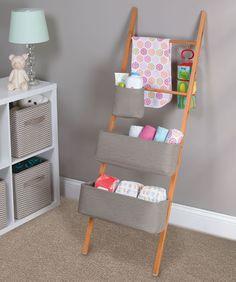 Wren+Storage+Ladder+With+Cotton+Totes