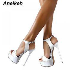 1de2eaab08b2 Aneikeh Big Shoe Size 41 42 43 44 45 46 High Heels Sandals Summer Sexy Open