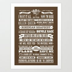 QUEEN'S GREATEST HITS Art Print by Needs & Wishes - $18.00