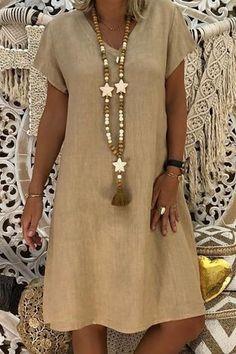 V-neck Shift Women Short Sleeve Casual Solid Summer Dress - Model Art 2019 Trendo - Summer Dress Outfits Mode Outfits, Fall Outfits, Short Sleeve Dresses, Dresses With Sleeves, Short Sleeves, Long Sleeve, Vetement Fashion, Trendy Fashion, Womens Fashion