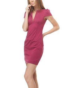 Loving this TOV Magenta Notch-Neck Dress on #zulily! #zulilyfinds
