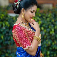 Wedding Saree Blouse Designs, Pattu Saree Blouse Designs, Fancy Blouse Designs, Blouse Neck Designs, Wedding Sarees, Sari Blouse, Blouse Patterns, Traditional Blouse Designs, Mirror Work Blouse Design