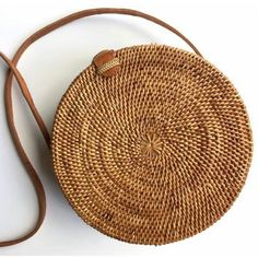 Round rattan basket bag, Bohemian round shoulder bag,Round shoulder... ($85) ❤ liked on Polyvore featuring bags, handbags, shoulder bags, woven purses, boho style purse, brown purse, woven handbags and boho handbags