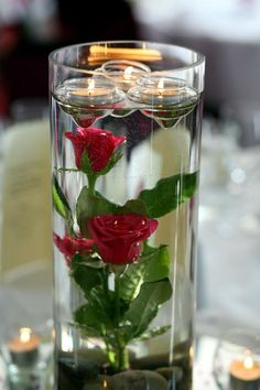 Tealight Candles & Pink Roses in water centre piece