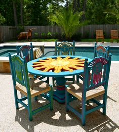 Mexican Carved Sun Table