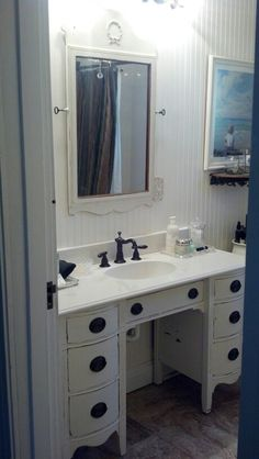 Old dresser turned into a vanity!