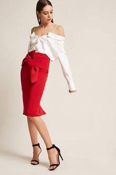 FOREVER 21 Scuba-KnitTwist-Front Skirt