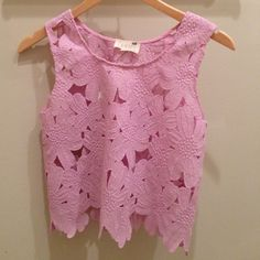 PACSUN Lilac lace crop top A simple, summer crop top! This NWT floral lace crop top is the perfect fit for a simple summer outfit. Perfect with white or blue denim. Never washed or worn, non-smoking/no pet home. PacSun Tops Crop Tops