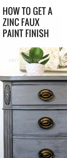 Painting Furniture Tutorial. AWESOME Painted Furniture Ideas!! How To Get A Zinc Faux Paint Finish On Furniture. Furniture Painting. Painting Techniques. How To Layer Paint. Painted Furniture. Furniture Paint. Easy Furniture Painting Technique To Learn!! #thirtyeighthstreet #furnituremakeovers #grey #layeredpaint #chalkpaint #paintingfurniture #refinishingfurniture #furniturelove #paintedfurniture