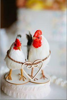 Barnyard Chickens Love Bird Cake Topper Farm Wedding