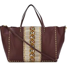 Valentino Garavani 'Rockstud' trapeze tote (4,869 CAD) ❤ liked on Polyvore featuring bags, handbags, tote bags, red tote, red tote bag, aztec handbag, red purse and handbags totes