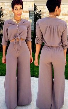 Button Blouse + High-Waisted Pants Twinset