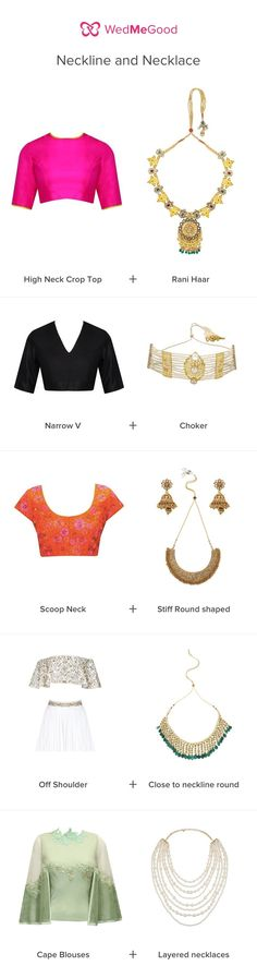 Bridal Details - Neckline and Necklace Check List | WedMeGood | A Quick Guide to What Jewellery to wear with which Indian Bridal Neckline #wedmegood #checklist #bridaljewelry #indianbride #indianjewelry #blouses #jewelry