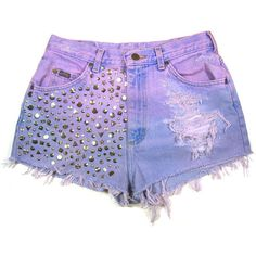 Dip dyed Studded Vintage Shorts ($50) ❤ liked on Polyvore featuring shorts, ripped denim shorts, distressed denim shorts, distressed high waisted shorts, high rise shorts and cut off shorts