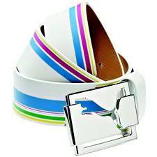 Puma white blue green purple Stripe Golf Belt