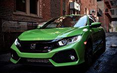 Download wallpapers Honda Civic Si, 4k, japanese cars, street, green Civic, Honda