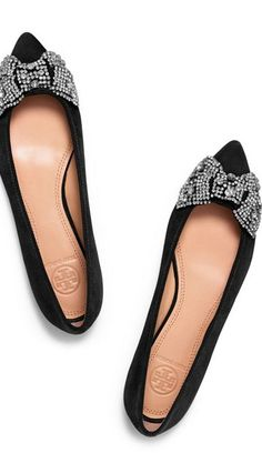 Sparkly bow flats by Tory Burch