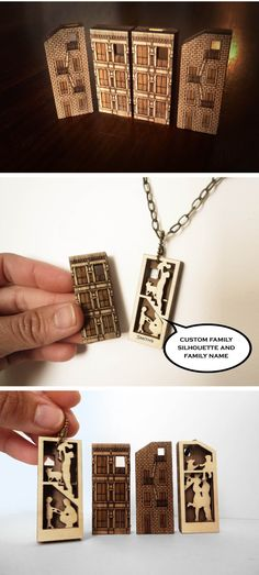 Laser Cut House Necklace - custom made by Vectorcloud