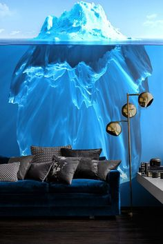 Interior : Awesome Wall Murals Interior Room Paint Colors Blue Sofa With Black Throw Cushions 3 Light Floor Lamp Chrome Finish Dark Wood Floor Laminate High Gloss White Table Floating The Cost To Buy Interior Paint High Quality Paints. Interior Paint. Interior Home Paint.