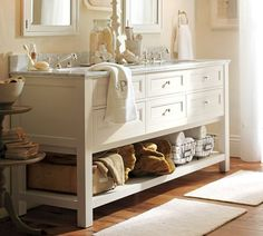 Bathroom Storage Furniture home-decor Baños Shabby Chic, Double Sink Vanity, White Vanity, Double Sinks, Vanity Sink, Vanity Drawers, Best Bathroom Designs, Design Bathroom, Vanity Design