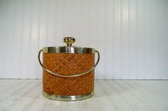 Retro Rattan & Gold Tone Metal Trim Ice Bucket  by DivineOrders, $23.00