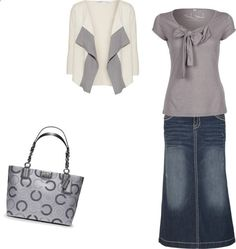 A fashion look from December 2012 featuring Fresh Made tops, Diane Von Furstenberg cardigans and Hydraulic skirts. Browse and shop related looks. Modest Fashion, Fashion Outfits, Womens Fashion, Apostolic Fashion, Modest Clothing, Fashion Trends, Fashion 101, Denim Fashion, Trendy Fashion
