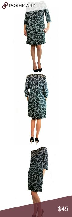 Ellen Tracy Boat Neck Shift Dress This dress is lined and has a black and white pattern which resembles leaves and webbing. It really is quite interesting. Made of 92% polyester and 8% spandex, it should fit comfortably with plenty of give. Hidden side zipper, convenient side pockets, and three quarter sleeves make this dress a nice contemporary addition to your wardrobe, that is perfect for the office or a night out. NWOT. Never worn except to take these  photos. SORRY NO TRADES. Ellen…