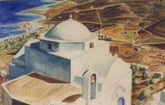 ''Livadi,Serifos'' 1996, Watercolours by Gerasimos Gerolymatos