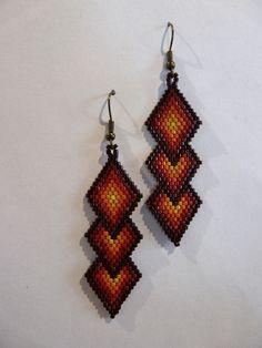 Boucles d'oreilles en tissage Brick Stitch, losanges entrelacés