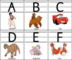 Disney ideas for Kindergarten Flash Cards