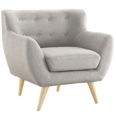Mid Century Modern Tufted Button Living Room Accent Chair (Light Grey)